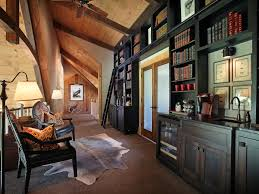 craftsman library with built in bookshelf french doors exposed