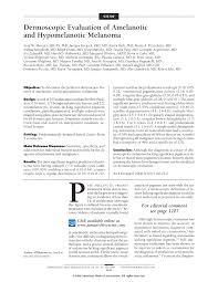 dermoscopic evaluation of amelanotic and hypomelanotic melanoma