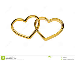 linked wedding rings 3d golden engagement hearts rings connected together stock