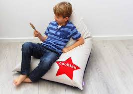 personalised kids bean bag with red star boys bean bag boys
