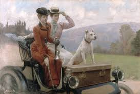 a peugeot julius leblanc stewart the goldsmith ladies in a peugeot