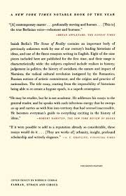 the sense of reality studies in ideas and their history isaiah