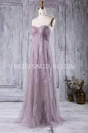 unique purple lace tulle strapless a line empire long bridesmaid