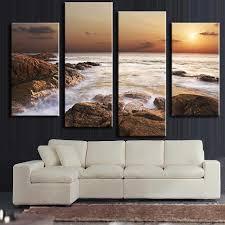 Decoration Home Modern Aliexpress Com Buy 4 Pcs Set Modern Canvas Art Rocky Sea Canvas