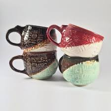 artisan ceramic coffee mugs vibrantly hand painted original