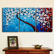 3pcs plum handcraft painted canvas painting print art wall bedroom