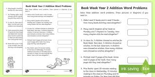 12 week year book book week addition word problems worksheet activity sheet