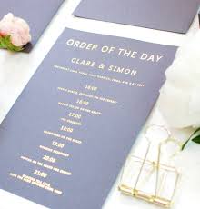 Order Invitation Cards Grey And Gold Wedding Order Of Day Card By Made With Love Designs
