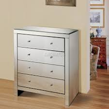foxhunter mirrored furniture glass with drawer chest cabinet table