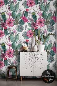 floral removable wallpaper cactus wallpaper succulents removable wallpaper boho