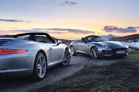 jaguar f type vs porsche 911 porsche 911 cabriolet v jaguar f type v6s evo