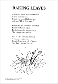 cute fall children u0027s poem about raking leaves in autumn great for