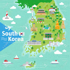 Map Of World Korea by Adorable South Korea Travel Map With Colorful Attractions Royalty