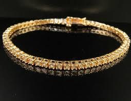 3mm diamond gold finish fanook one row real diamond 3mm tennis bracelet 1