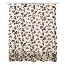 Brown Ruffle Shower Curtain by Carnation Home Fashions Karen Brown And Beige Flower Fabric Shower
