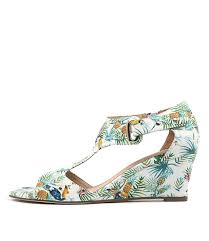 unico wedge sandals in white tropical print leather top end shoes
