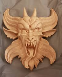 wood carved gargoyle by mouser00 wood carving