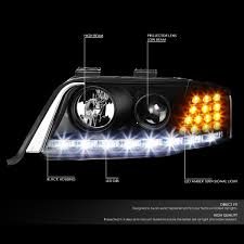 audi headlights 01 audi a6 halogen model led drl signal projector headlights