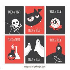 flat set of modern halloween cards vector free download