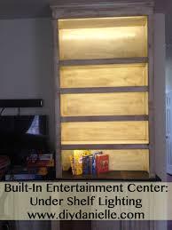 built in entertainment center lighting diy danielle
