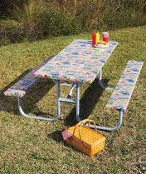 elasticized picnic table covers table and seat cover i bought 2 tablecloths cut one in half for