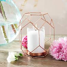 Copper Decorations Home Copper Rose Gold Geometric Candle Holder Lantern By Made With Love