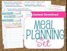 printable blank meal planner instant download menu planner printables meal planning
