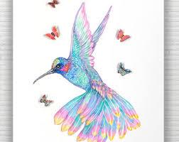 hummingbird watercolor print butterfly art home decor bird