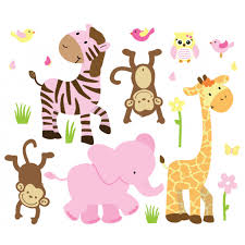pink orange jungle animal wall decals for play rooms pink orange jungle wall decals for children