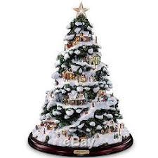 thomas kinkade lighted pictures thomas kinkade lighted snow covered christmas tree sculpture holiday