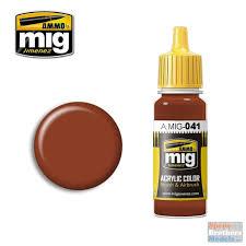 amm0041 ammo by mig acrylic color dark rust 17ml bottle