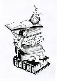 stacked books tattoos with a little tea cup on the top tattoos