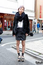 cecil mcbee lilac hair h m coat tattoo tights cecil mcbee tokyo fashion
