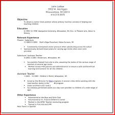 Example Of Resume For Teacher Position by Resume Teacher Assistant Kindergarten
