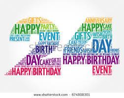 happy 24th birthday word cloud collage stock illustration