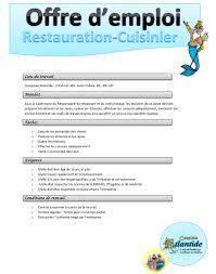 emploi chef cuisine offre d emploi restauration cuisinier le complexe atlantide