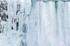 person ice climb niagara falls frozen snowsbest