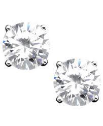 cubic zirconia earrings b brilliant sterling silver cubic zirconia stud earrings 4 ct
