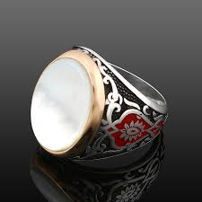 men ring exclusive design silver men ring with white pearl nacre ottoman