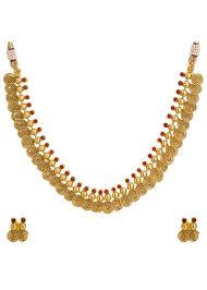 necklace set gold design images Adwitiya 24k gold plated designer pearl ruby studded pokhraj jpg
