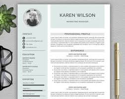 Modern Resumes Templates One Page Resume Etsy