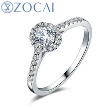 wedding rings setting images Zocai wedding ring 0 50 ct real oval cut diamond cluster setting jpg