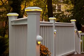 Patio Post Lights Solar Deck Rail Lights Also Simple Front Porch Ideas With White