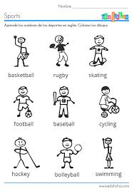 ficha infantil para aprender los deportes en inglés english