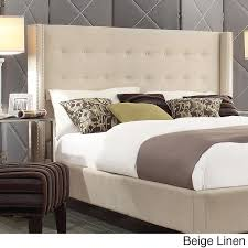 Winged Tufted Headboard by Marion Nailhead Wingback Button Tufted Headboard By Inspire Q Bold