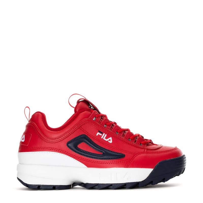 Fila Disruptor Ii Premium Red / White Navy Ankle-High Patent Leather Sneaker 8.5M