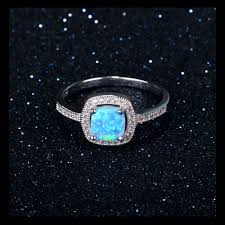 rings with opal images Square halo blue opal ring 925 sterling silver post included png
