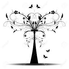 beautiful and abstract tree and butterfly royalty free cliparts