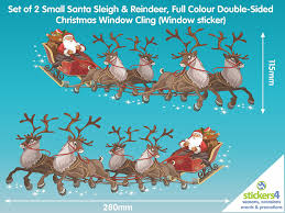 set of 2 small santa sleigh and reindeer full colour window cling