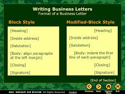 writing business letters elements of a business letter parts of a